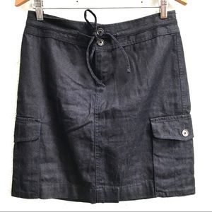 LOFT Denim Cargo Pockets Drawstring Skirt Size 2